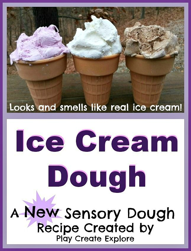 Ice Cream Dough! A totally NEW sensory dough created by Play Create Explore. Looks and smells JUST like ice cream!