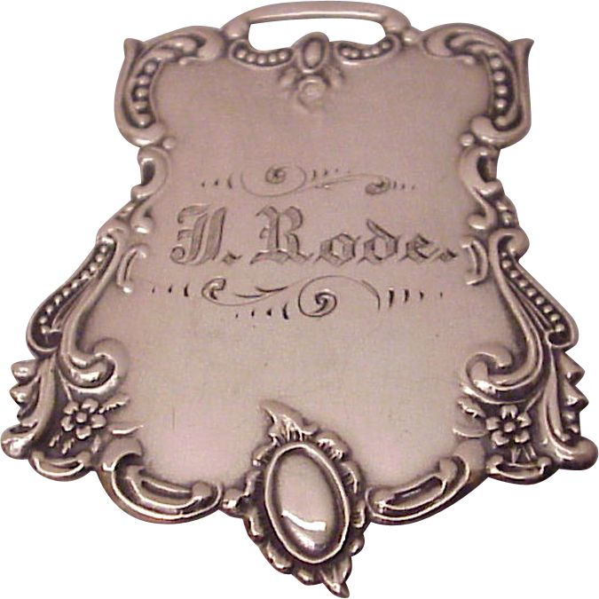 Victorian Sterling Luggage Tag, c1900