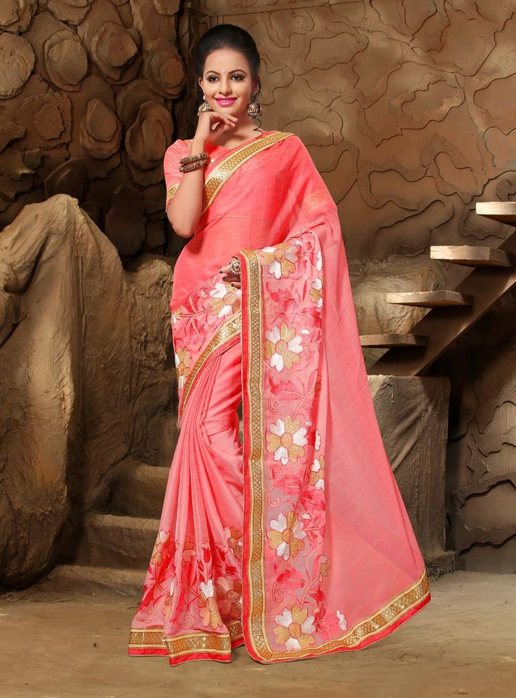 Peach Chiffon Festival Wear Saree 80884