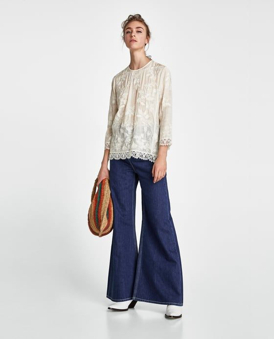 ZARA - WOMAN - BLOUSE WITH EMBROIDERY AND LACE