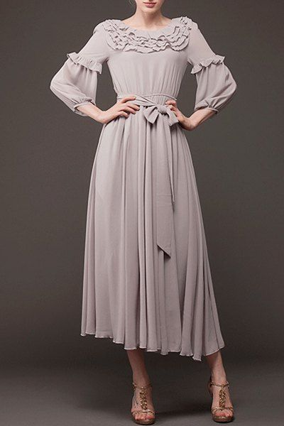 Ruffled 3/4 sleeve grey vintage dress