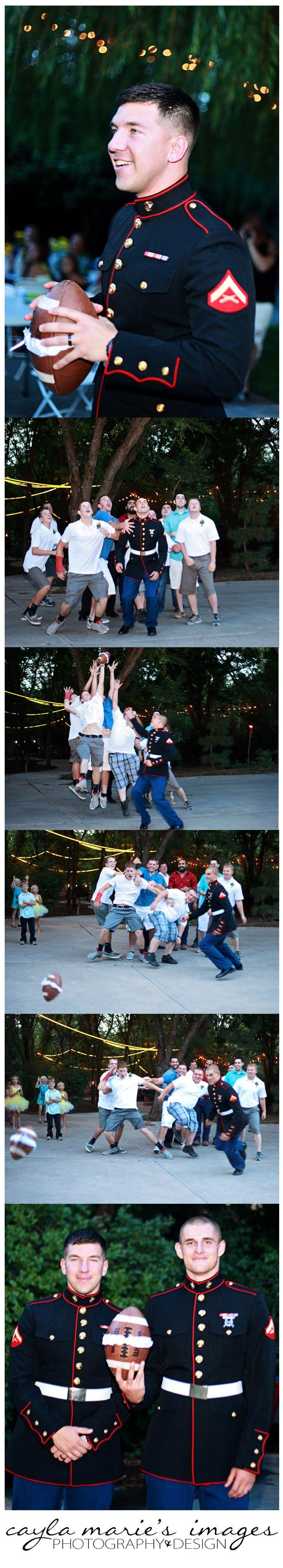 Cayla Marie's Images caylamariesimages.wordpress.com Garter Toss, Football Garter Toss, Marine Wedding, Outdoor Wedding, In Uniform