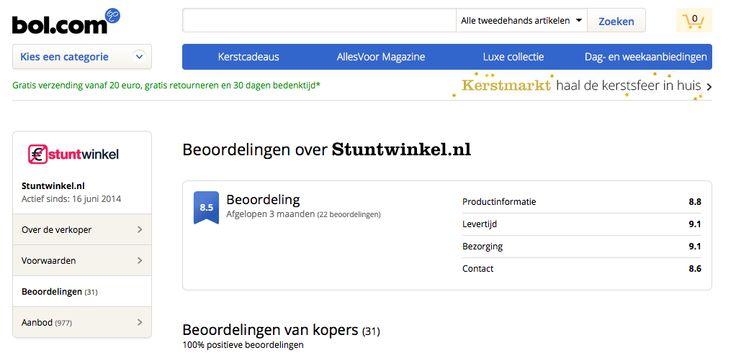 Onze winkel op Bol krijgt ook allemaal goede waarderingen van de klanten op het gebied van klantenservice, levertijd, bezorging en productinformatie. http://www.stuntwinkel.nl/service/stuntwinkel.nl-op-bol.com