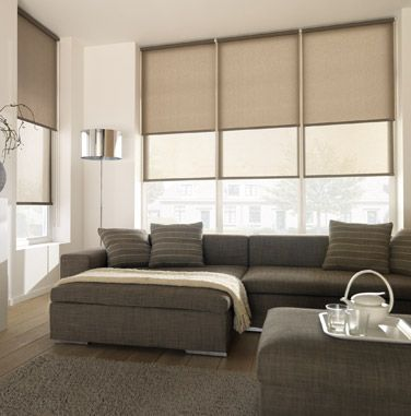 I like the look of these beige blinds. I like how they look like the would block out most of the light but not completely black out the room. This middle ground would be important for a living room like in the picture.