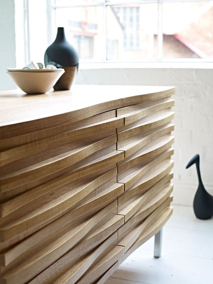 walnut finish   light wood   closeup detail   Sideboard Cabinet   Mid-Century Modern   Retro Furniture   Interior Design