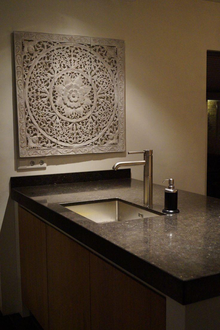 SIMPLY PURE Houten wandpaneel 90x90 cm Soft wit in keuken....