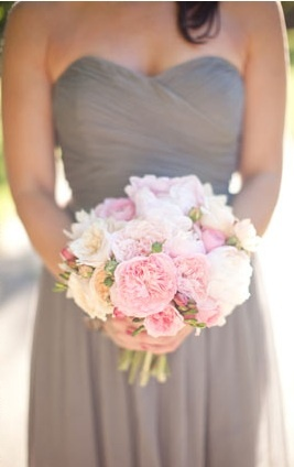 Dove grey bridesmaids with pale pink? I think these colors are so pretty together. Very shabby chic.