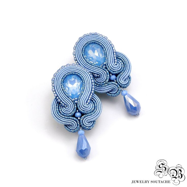 Ellegant Clip-on Earrings, Blue Serenity Soutache Earrings, Ellegant Clip On…