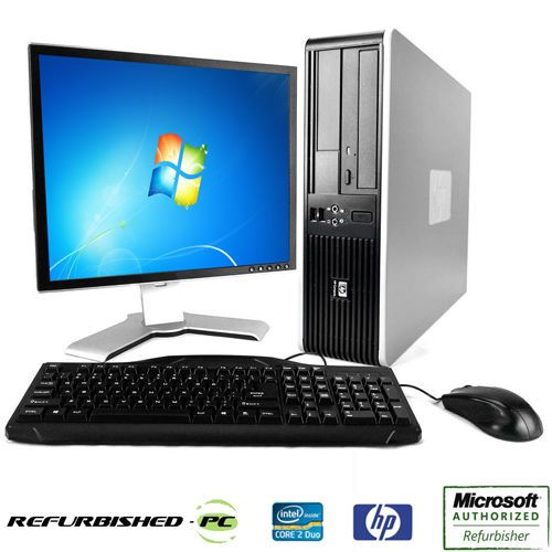 Fast HP Desktop Computer PC Deal Core 2 Duo Windows 7 / 10 / XP  LCD  KB  MS