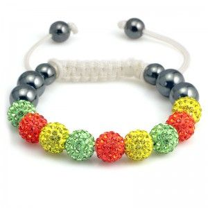 Colorful Crystal Beads & Hematite Beads Shamballa Bracelet