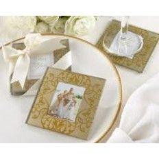 Golden Photo Glass Coaster Favour