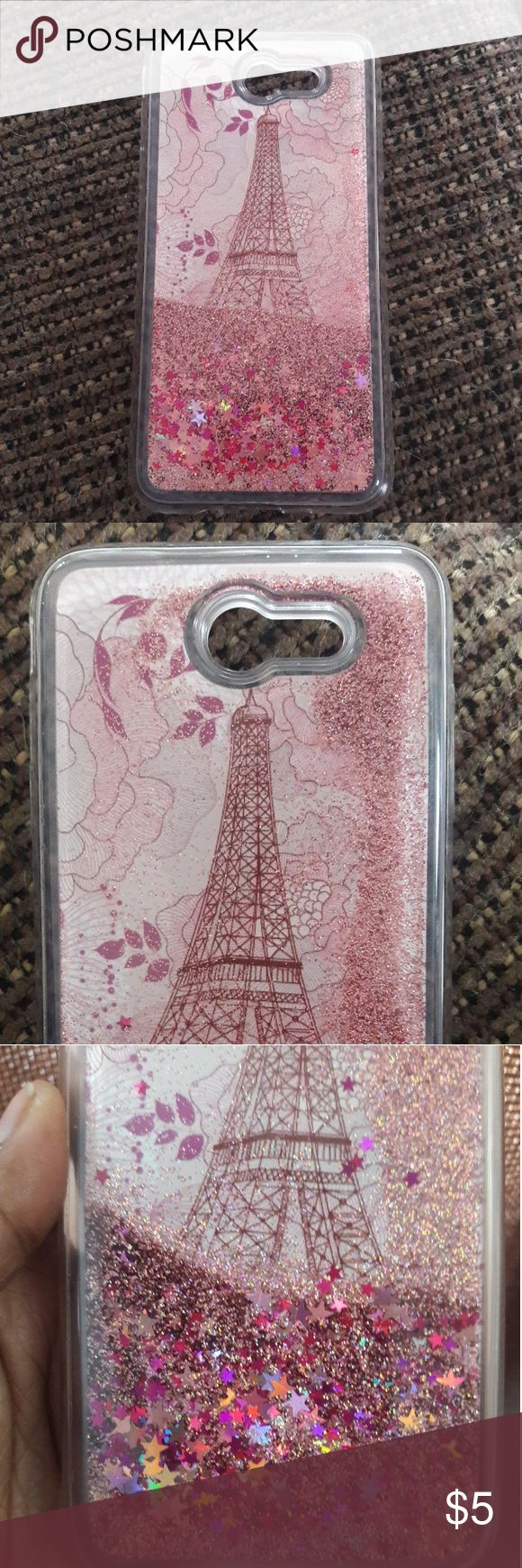 Snow Globe Case for Samsung J7 Phone Eiffel tower and glitter case for Samsung J7. Clear case with pink and fuchsia glitter and star confetti. Good condition. Accessories Phone Cases