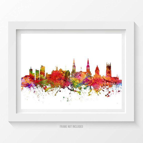 Leeds England Poster Leeds Skyline Leeds Cityscape by Agedpixel