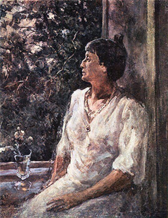 """Александр Осмеркин """"Портрет А.А. Ахматовой. Ленинград. Белая ночь"""", 1939"""