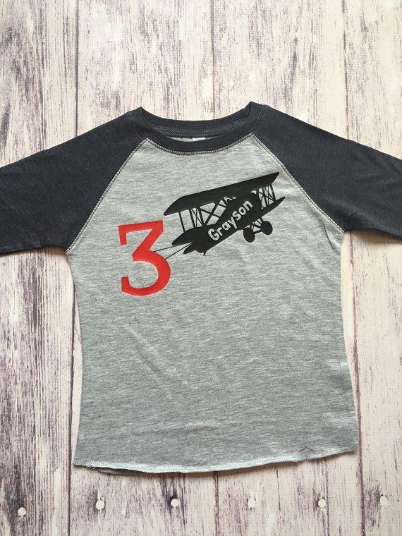 Airplane birthday shirt plane birthday shirt by PurpleElephantCo