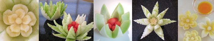 Learn to carve honeydew lotuses: http://www.vegetablefruitcarving.com/vegetable-and-fruit-carving-course-101/