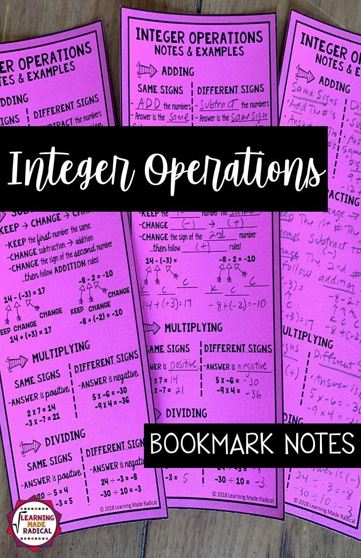 Hese Cover Notes And Examples For Integer Operations For Adding Subtracting Multiplying And Dividi Integer Operations Math Interactive Notebook Math Integers What are three rules for adding and