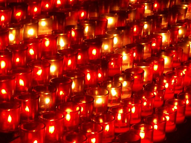Candles in a Catholic church in Montreal