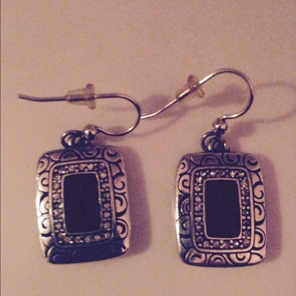 NWOT Brighton Earrings Brighton earrings NWOT! This show front and back! Very hard to find! Black and silver! Brighton Jewelry Earrings