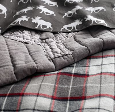 Lodge Plaid & Moose Flannel Bedding Collection