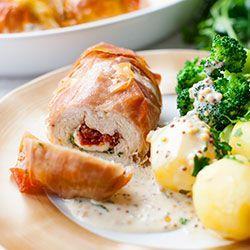 ROLADKI Z INDYKA nadziewane mozzarellą, suszonym pomidorem i pesto z natki pietruszki