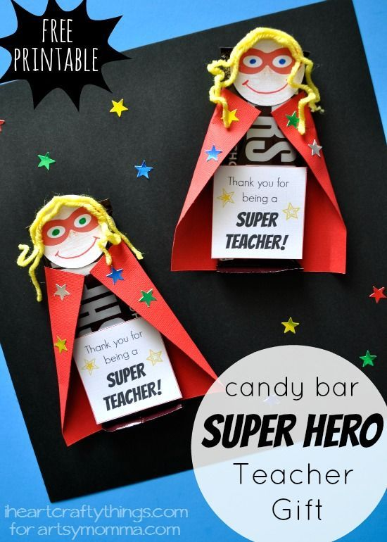 Kids will love making this fun Super Hero Candy Bar DIY Teacher Appreciation Gift. Find the printable superhero face and gift tag in the post.