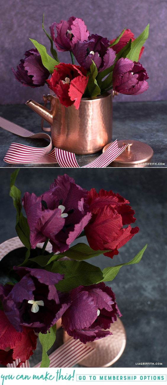 DIY Crepe Paper Parrot Tulips for Beginners - Lia Griffith - www.liagriffith.com #paperflower #paperflowers #paperart #crepepaperflowers #crepepaperrevival #madewithlia