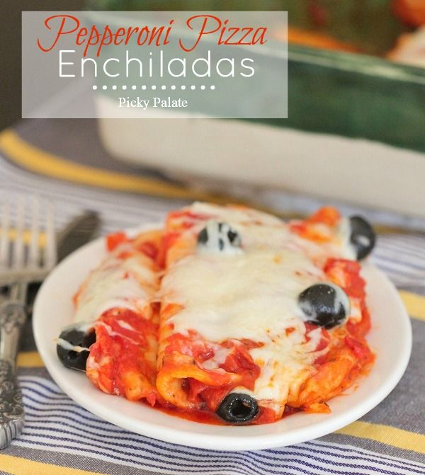 Pepperoni Pizza Enchiladas...great for a simple back to school dinner!  via picky-palate.com