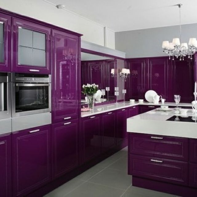Purple Kitchen Dream Kitchens Pinterest Cook In Custom Kitchens And The Beauty