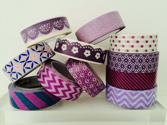 Purple Washi Tape in 11 Patterns by GoatGirlMH on Etsy