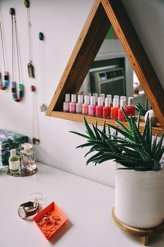 triangle mirror shelf