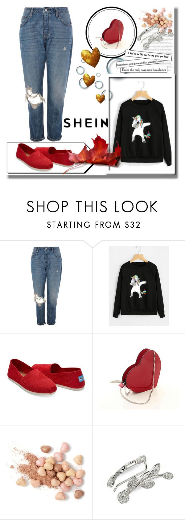 """""""Shein contest"""" by naruto-minato ❤ liked on Polyvore featuring Topshop, TOMS and Too Faced Cosmetics"""