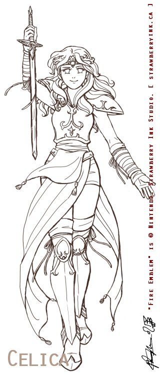 Anime girl warrior coloring pages
