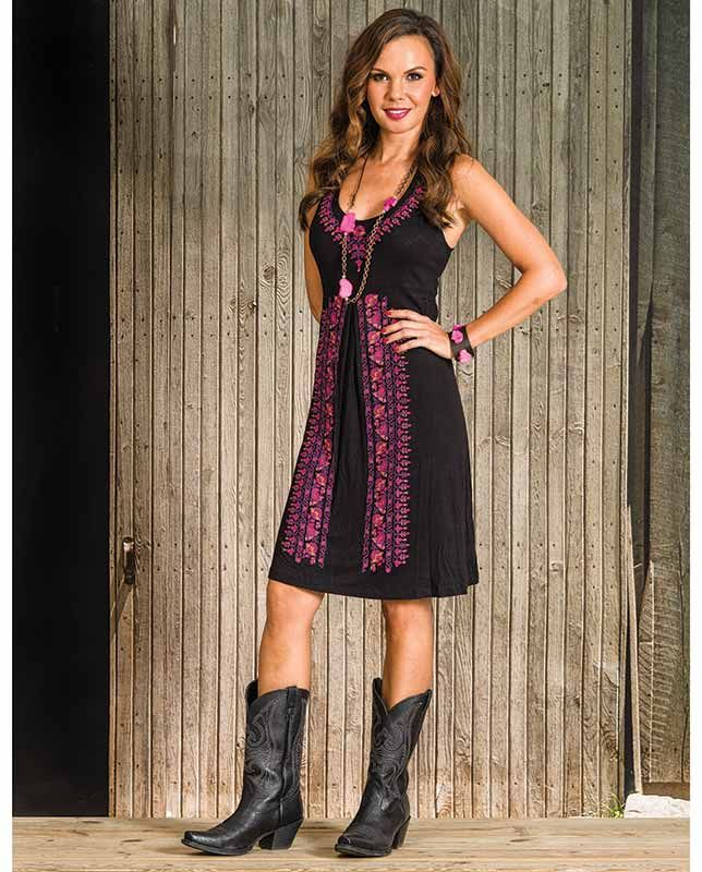 Stetson Women's Black and Pink Embroidered Sleeveless ...