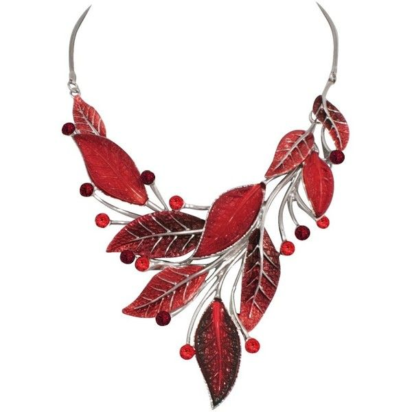 Willow Red Enamel and Crystal Silver Tone Necklace (1 215 UAH) ❤ liked on Polyvore featuring jewelry, necklaces, silvertone necklace, silver tone jewelry, crystal jewellery, red jewellery and silvertone jewelry