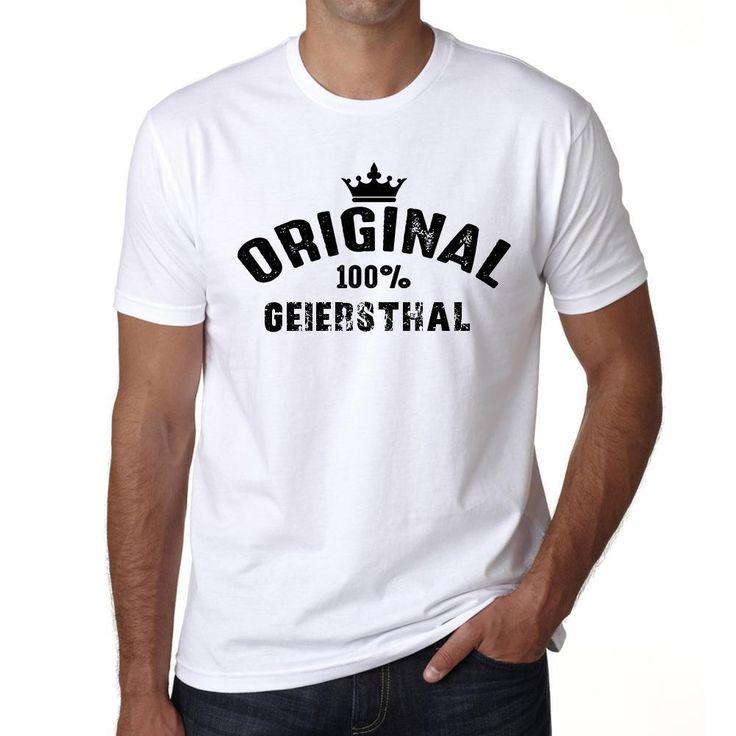 geiersthal, 100% German city white, Men's Short Sleeve Rounded Neck T-shirt