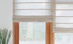 http://www.raumtextilienshop.de/  Maßanfertigung Raffrollo für Panorama-Esszimmer-Fenster