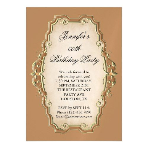 Pretty Tan Antique Frame Diamonds Birthday Magnetic Invitation