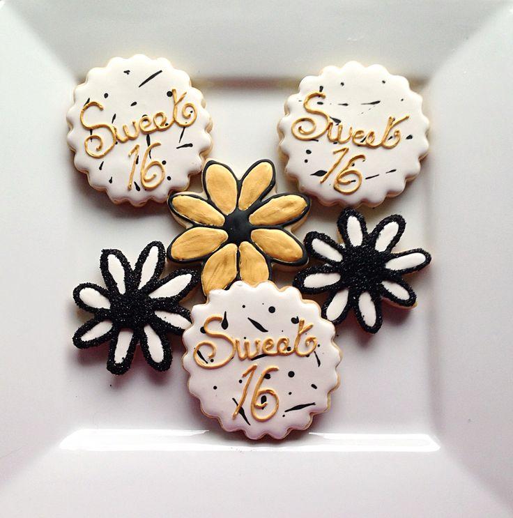 Custom 16th Birthday Cookies  @sugarlovecookiesdesigns FB sugar love cookie designs