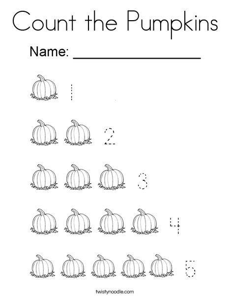 Count the Pumpkins Coloring Page - Twisty Noodle | Pumpkin ...