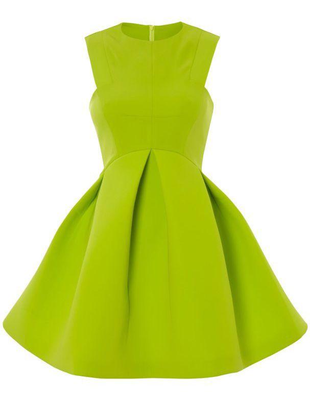 Vestido plisado volante cuello redondo-verde EUR€16.96