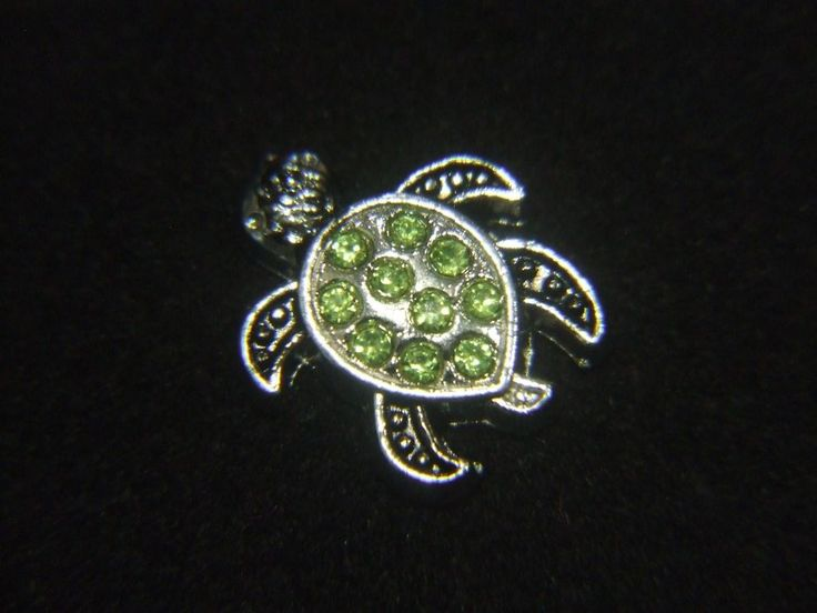 Floating Charm Green Turtle Crystals For Living Memory Glass Locket Pendant 8mm