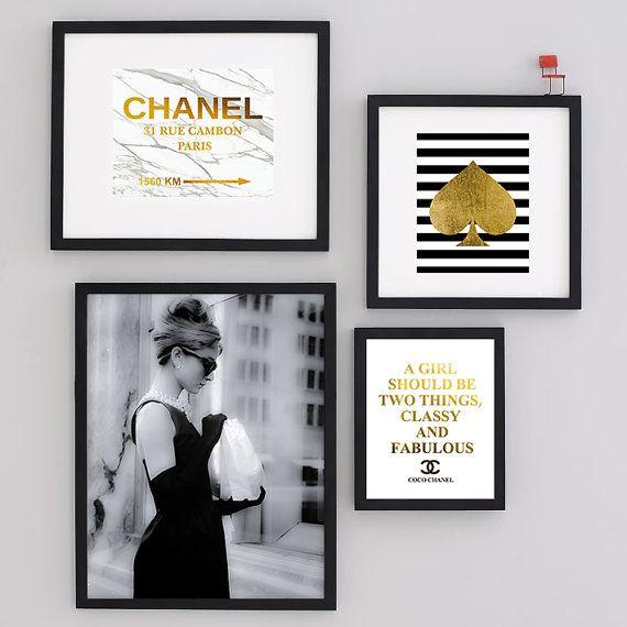Set of four Art Print Audrey Hepburn Black Art Photo by Artlantida