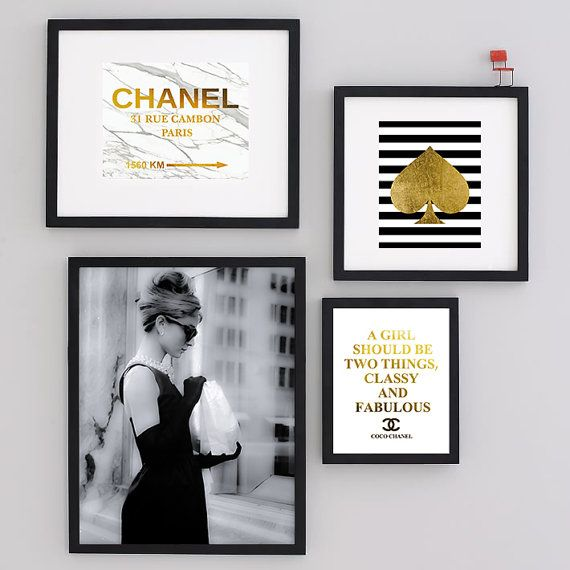 Set of four Art Print Audrey Hepburn Black Art Photo by Artlantida