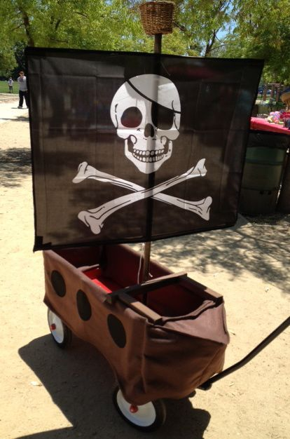 I turned this wood sided radio flyer wagon into a pirate ship!