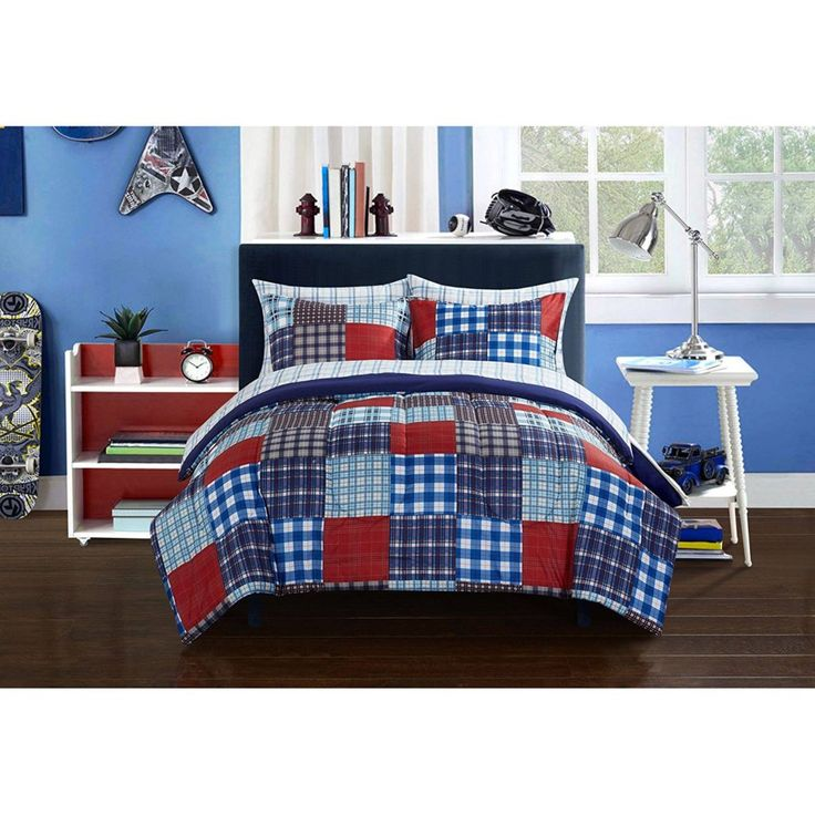 Red White Blue Boys Comforter Set    Mainstays Kids Plaid Blue Patch Reversible White Bedding Full Comforter Set for Boys (7 Piece in a Bag)