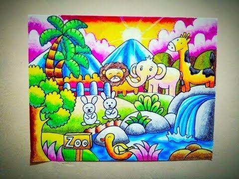 How To Draw Zoo Cara Mewarnai Gradasi Crayon Oilpastel Tema