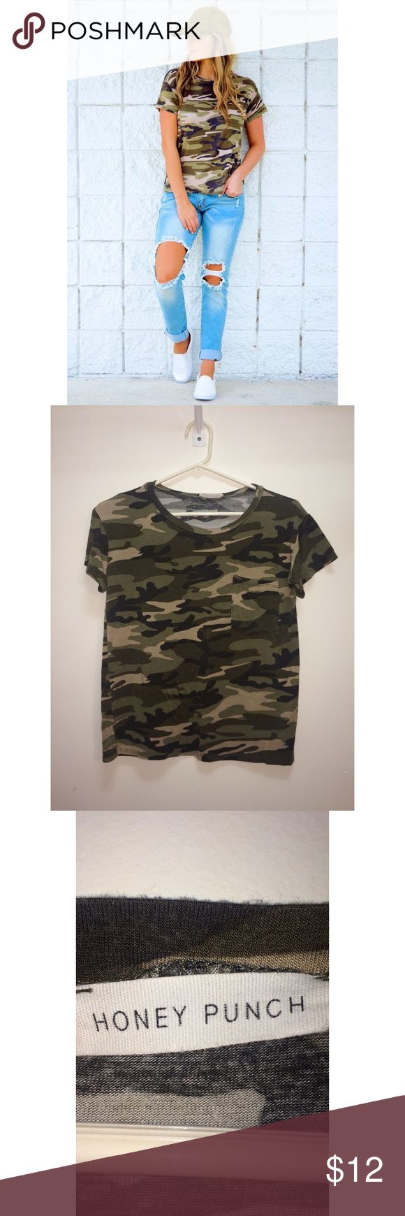 Small Camo Tee from Shop Hopes Super cute and casual camo tee. Bought from Shop Hopes and worn twice! Size small, has a cute front pocket. ✨all offers considered✨ ✨smoke free home✨ shop hopes Tops Tees - Short Sleeve