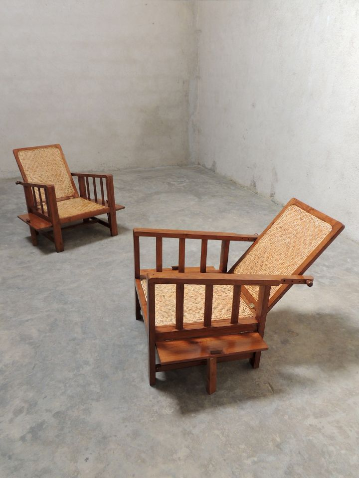 A Pair Of Foldable Teak U0026 Cane Easy Chairs With A Rather Unusual Design  That Combines Elements Of Scandinavian And Campaign Furniture. INR 38,000 U2026