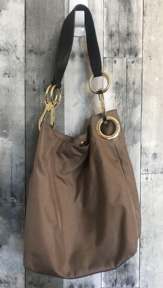 Jpk Paris 75 Hobo Bucket Handbag Stylish Tan Khaki Nylon Leather Strap Beautiful Red Interior With Many Pockets Dividers Ebay